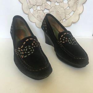Clark Artisan Women's black high heel wedge